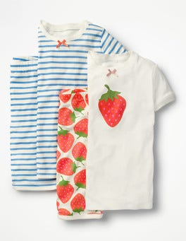 Ivory Sweet Strawberry/Blue Twin Pack Short John Pyjamas