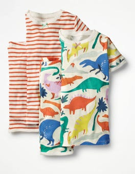 Ivory Do-You-Think-She-Saurus Twin Pack Short John Pyjamas