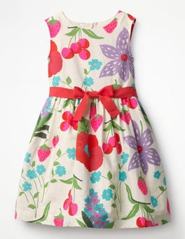 Ecru Summer Fruits Vintage Dress
