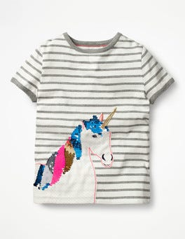 Ivory/Grey Marl Unicorn Sequin Colour-change T-shirt