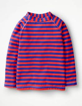 Blue/Neon Grapefruit Orange Long-sleeved Rash Vest