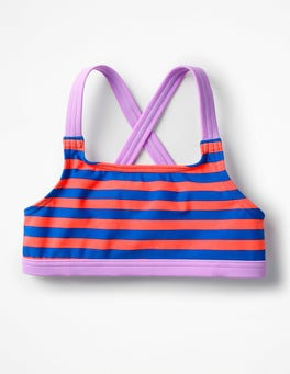 Blue/Neon Grapefruit Orange Surf Bikini Top