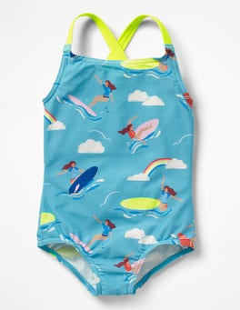 Camper Blue Surfer Girl Cross-back Swimsuit