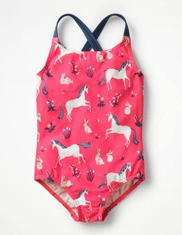 Strawberry Split Pink Unicorns Cross-back Swimsuit