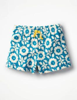 Blue Retro Tile Adventure Towelling Shorts