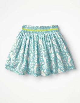 Camper Blue Lino Birds Smock Skirt
