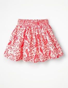 Fluoro Coral Lino Birds Smock Skirt