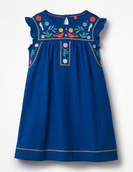 Orion Blue Embroidered Jersey Dress