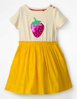 Sunshine Yellow Strawberry Sequin Colour-change Dress