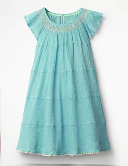 Camper Blue Twirly Smock Dress