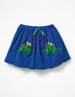 Orion Blue Dinosaurs Novelty Pocket Skirt