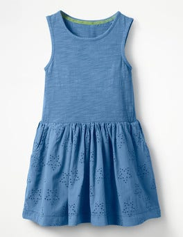 Penzance Blue Jersey Woven Dress