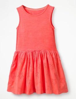 Fluoro Paradise Pink Jersey Woven Dress