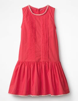 Raspberry Pink Drop-waist Woven Dress