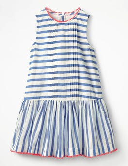 Penzance Blue Leno Stripe Drop-waist Woven Dress