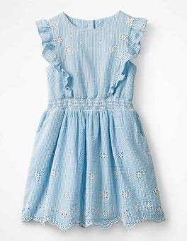 Penzance Blue Ticking Stripe Frill Embroidered Dress