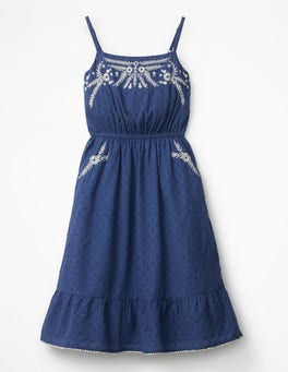 Starboard Blue Tiered Embroidered Dress