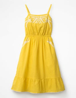 Sunshine Yellow Tiered Embroidered Dress
