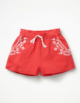 Melone/Orange Webshorts mit Stickerei