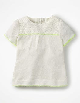 Ivory Broderie Pretty Woven Top