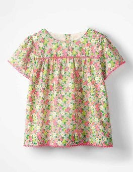 Knockout Pink Vintage Floral Pretty Woven Top