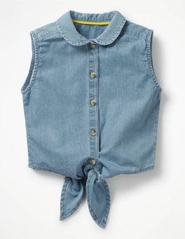 Chambray Tie-front Top