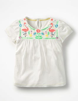Ivory/Multi Embroidered Yoke Top