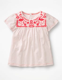 Pink Mist/Paradise Pink Embroidered Yoke Top
