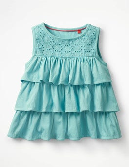 Camper Blue Pretty Ruffle Top