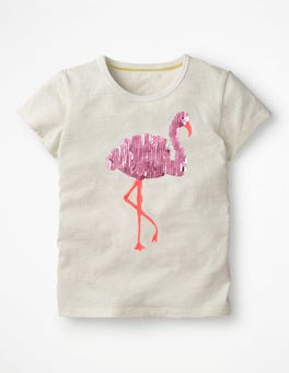 Ivory Flamingo Sequin Animal T-shirt