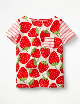 Ecru Sweet Strawberries Colourful Hotchpotch T-shirt