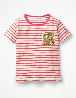 Ivory/Strawberry Split Pink Sequin Pocket T-shirt