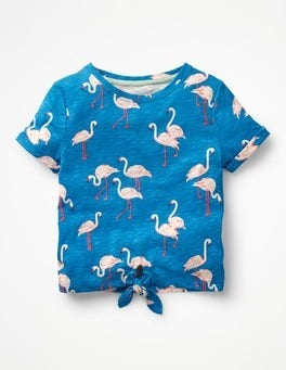 Blue Flamingos Tie-front T-shirt
