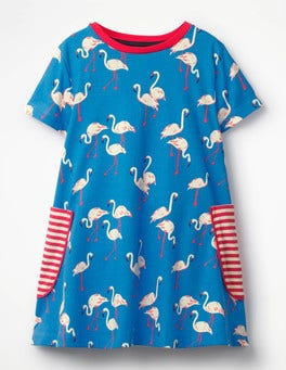 Blue Flamingos Colourful Printed Tunic
