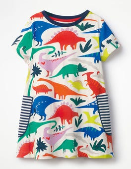 Ecru Do-You-Think-She-Saurus Colourful Printed Tunic