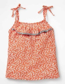Melon Crush Orange & Ecru Vine Pretty Printed Tank