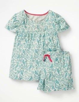 Ivory & Camper Blue Lino Bird Ruffle Pyjama Set