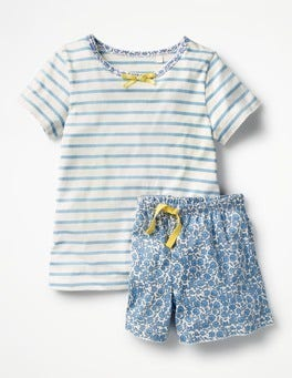 Grotto Blue/Ivory/Floral Pretty Jersey Pyjamas