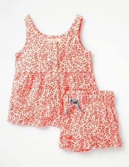 Fluoro Coral & Ecru Vine Pretty Printed PJ Set