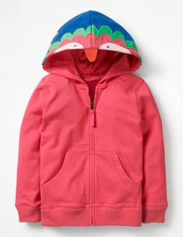 Strawberry Split Pink Parrot Animal Zip-up Hoodie