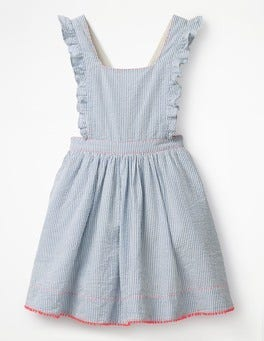 Penzance Blue Stripe Frilly Cross-back Dress