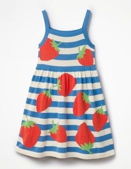 Skipper Blue/Ecru Strawberries Happy Days Knitted Dress