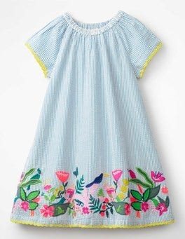 Penzance Blue Ticking Stripe Embroidered Hem Dress