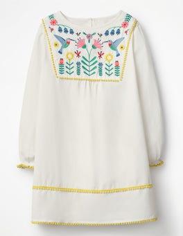 Ecru Pretty Embroidered Kaftan