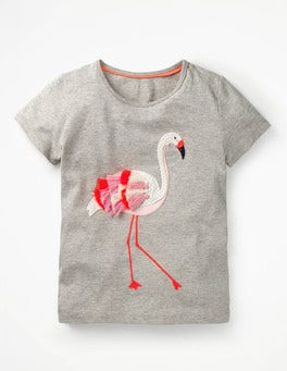 Grey Marl Flamingo Tropical Animal T-shirt