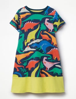 Blue Do-You-Think-She-Saurus Jersey Printed Dress
