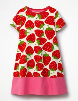 Ecru Sweet Strawberries Jersey Printed Dress