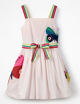 Pink Mist Butterflies Bright Appliqué Dress