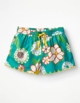 Ultramarine Green Daisy Printed Woven Shorts