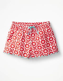 Rosehip Red Retro Tile Printed Woven Shorts